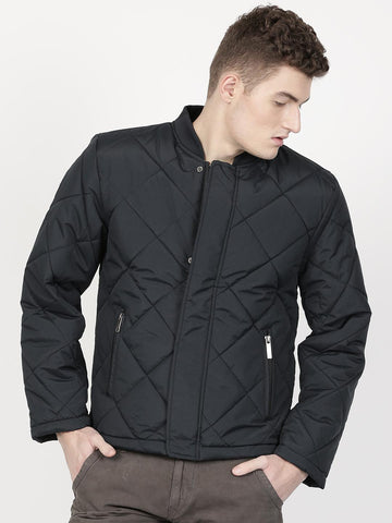 ether Men Navy Blue Solid Puffer Jacket