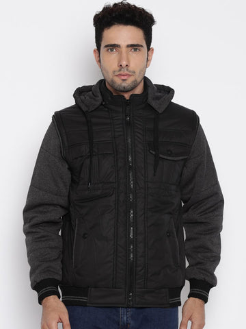 Fort Collins Black Hooded Jacket with Detachable Sleeves