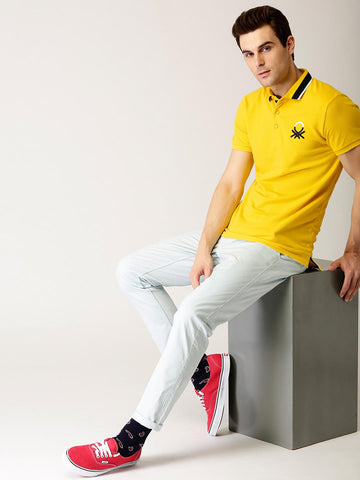 United Colors of Benetton Men Yellow Solid Polo Collar T-shirt