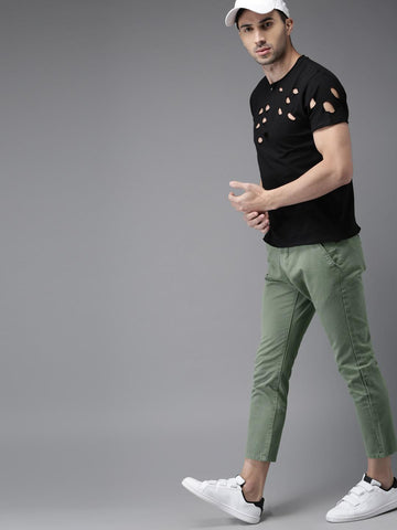 Moda Rapido Men Green Slim Fit Solid Cropped Trousers