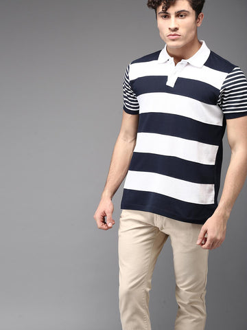 Moda Rapido Men Navy & White Striped Polo Collar T-shirt