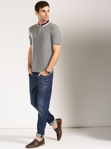 Harvard Men Grey Solid Polo Collar T-shirt