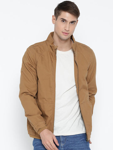 John Players Men Khaki Solid Bomber Jacket