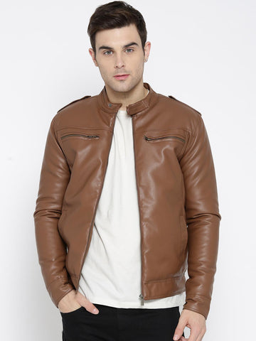 Mast & Harbour Men Brown Solid Biker Jacket