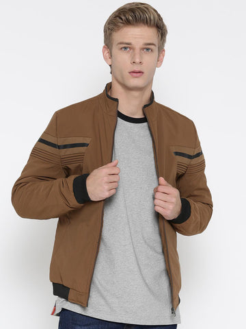 Fort Collins Men Mustard Brown Striped Detail Bomber Jacket