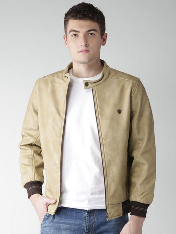 Okane Men Beige Solid Bomber Jacket