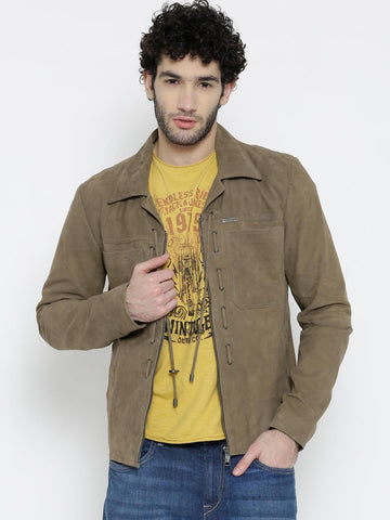 BARESKIN Khaki Leather Jacket