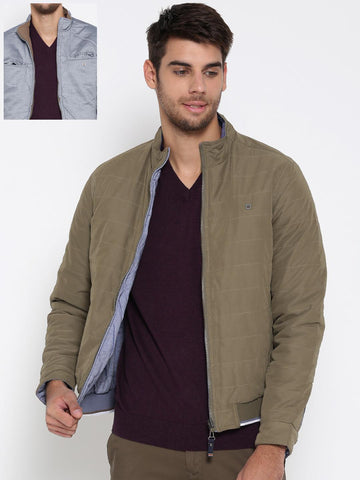 Louis Philippe Sport Men Olive Green & Blue Solid Reversible Bomber Jacket