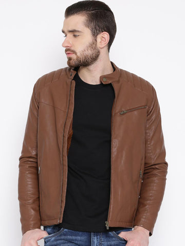 Pepe Jeans Brown Biker Jacket