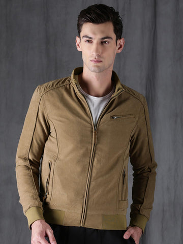 WROGN Men Khaki Slim-Fit Solid Bomber Jacket