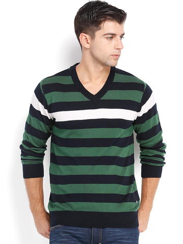 Peter England Navy & Green Striped Sweater