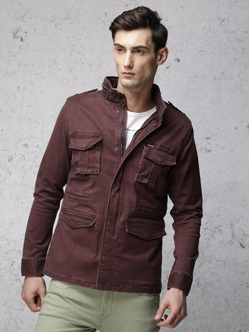 Ecko Unltd Men Maroon Solid Tailored Jacket