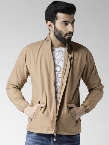 Okane Men Beige Solid Hooded Tailored Jacket
