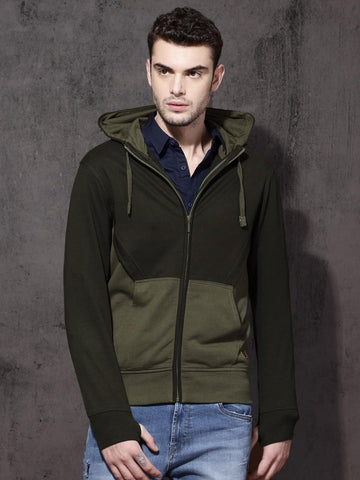 RDSTR Men Olive Green Colourblocked Hooded Sweatshirt