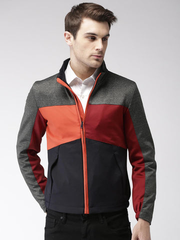 Harvard Men Navy & Maroon Colourblocked Sporty Jacket