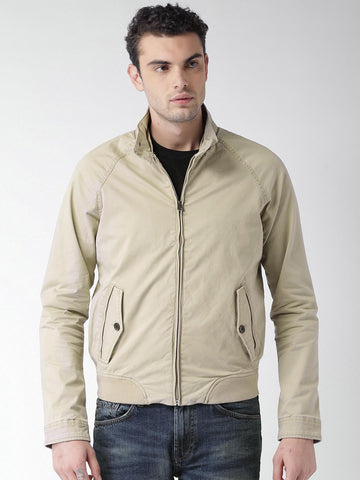 Celio Men Beige Solid Bomber Jacket