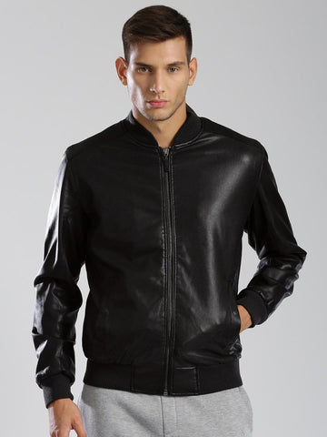 HRX by Hrithik Roshan Black Faux Leather Bomber Jacket