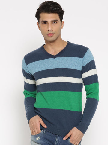 Mast & Harbour Men Navy & Green Lambswool Striped Pullover