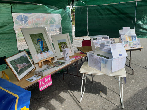 Ivan Jones pastel artist stall at Wigmore Show 2018