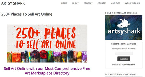 Artsyshark 250 places to sell art online Screenshot