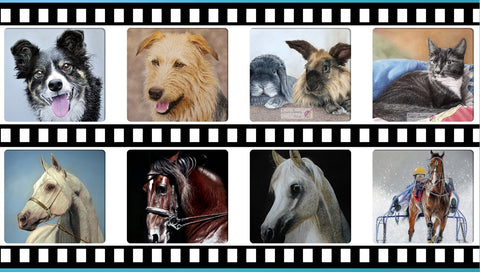 Dogs and horse pastel artworks by Ivan Jones artist