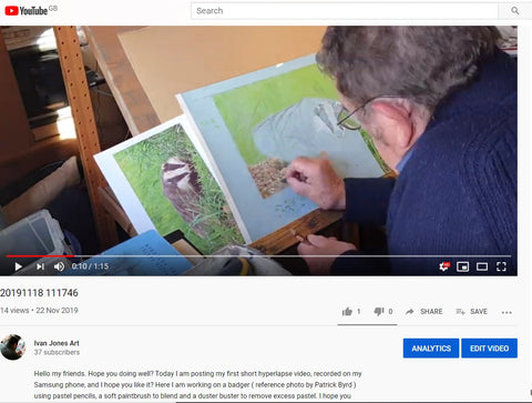 You tube video Ivan Jones pastel artist working on badger artwork