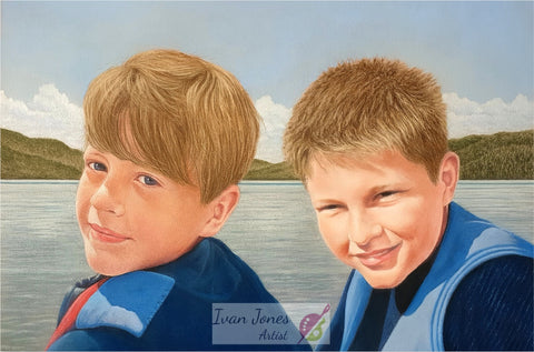 Charlie and Frank. Completed commissioned pastel portrait by Ivan Jones artist