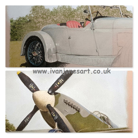 Vintage car, spitfire plane, commissioned artwork, Ivan Jones pastel artist