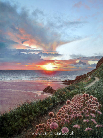Cornwall sunset pastel artwork sold Ivan Jones artist