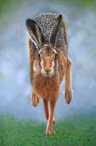 Running hare artwork sold Ivan Jones pastel artist