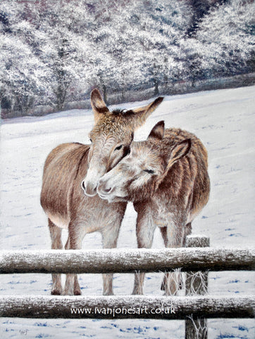 Donkeys in snow Leinthall Starkes Herefordshire pastel artwork sold Ivan Jones artist