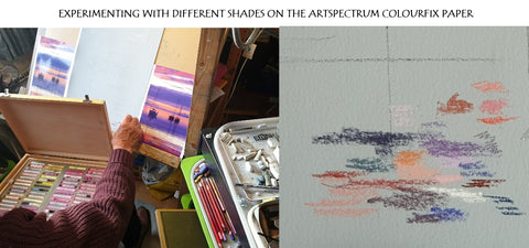Experimenting with pastel colours on Artspectrum Ivan Jones artist Colourfix paper