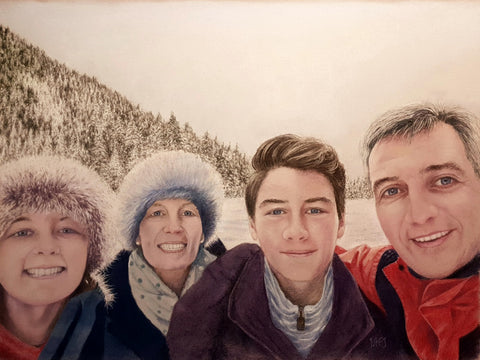 Family portrait commissioned artwork Ivan Jones pastel artist