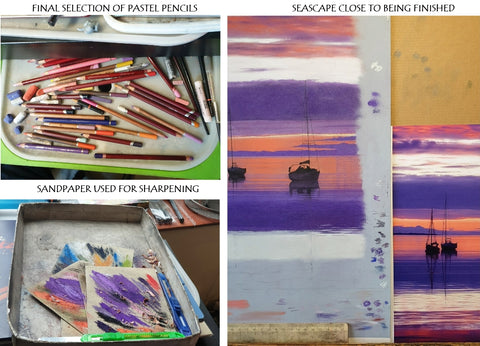 Final selections of pastel pencils and seascape nearly complete Ivan Jones artist