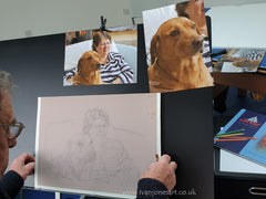 Dog pet portrait commission and reference photos Ivan Jones pastel artist