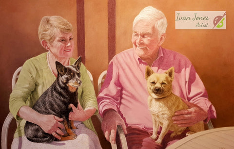 Gilli and John family commissioned portrait Ivan Jones pastel artist