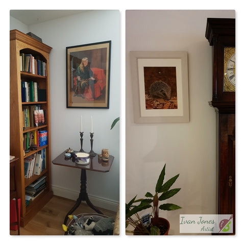 Portrait commission and purchased artwork in situ Ivan Jones pastel artist