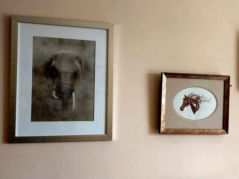 Elephant in the dust pastel artwork in situ Ivan Jones artist