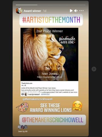Ivan Jones pastel artist Instagram story and lion art for sale