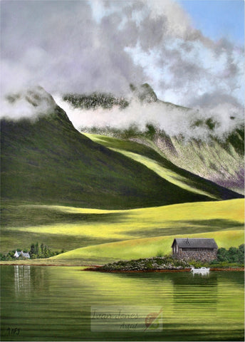 Boathouse at Achintrad Scotland. Pastel painting. Ivan Jones artist