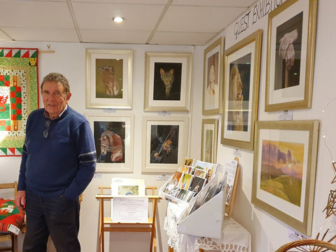 Ivan Jones with art exhibition at the Makers Gallery, Crickhowell