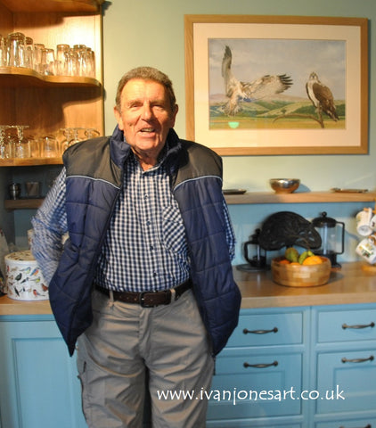 Ivan Jones with osprey commission in situ pastel painting sold Ivan Jones artist