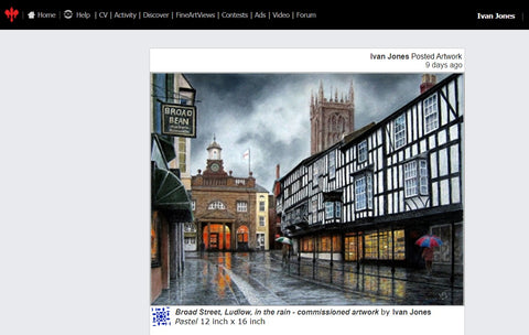 Broad Street Ludlow in the rain commission Ivan Jones pastel artist