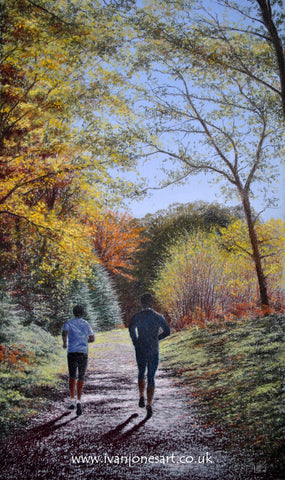 Jogging in Mortimer Forest, Herefordshire pastel artwork sold Ivan Jones artist