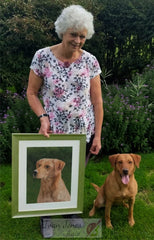 Macey and owner Sue with portrait by Ivan Jones pastel artist