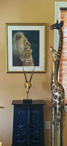 Regal Partners in new home. Pastel artwork of lions. Close up. Ivan Jones artist 2