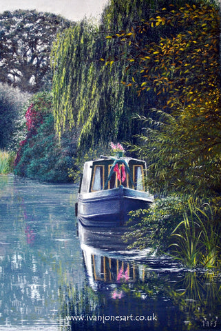 Riverboat at Sempford Peverell pastel artwork sold Ivan Jones artist