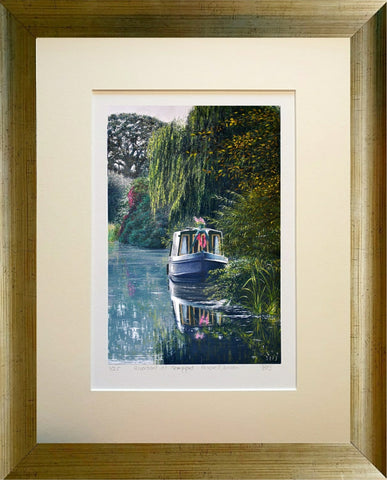 Riverboat in Devon. A4 limited edition giclee print framed