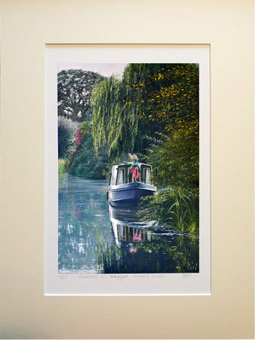 Riverboat in Devon. A4 mounted limited edition giclee print