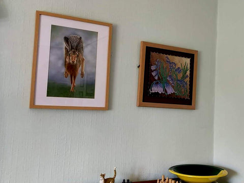 Running hare on the wall at the Greenan's home Ivan Jones pastel artist